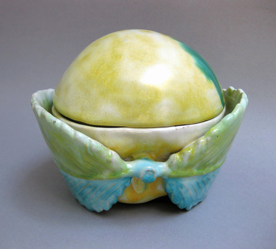 German faience apple as inkstand