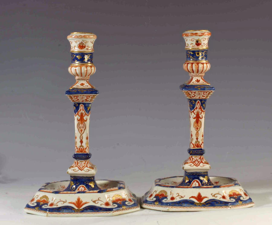 Dutch Delft doré pair of candlesticks