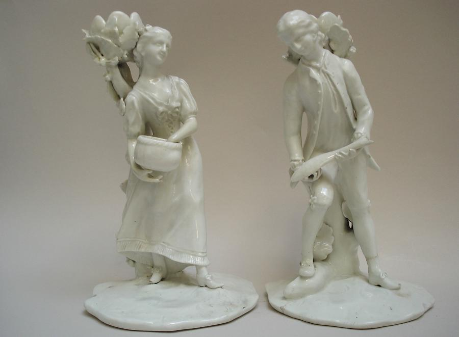 St. James's Factory (Girl-in-a-Swing) pair of Candlesticks