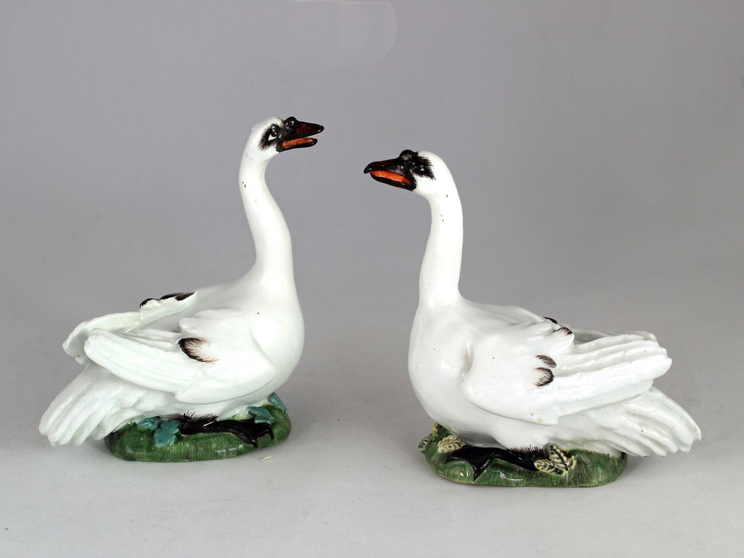Meissen pair of swans