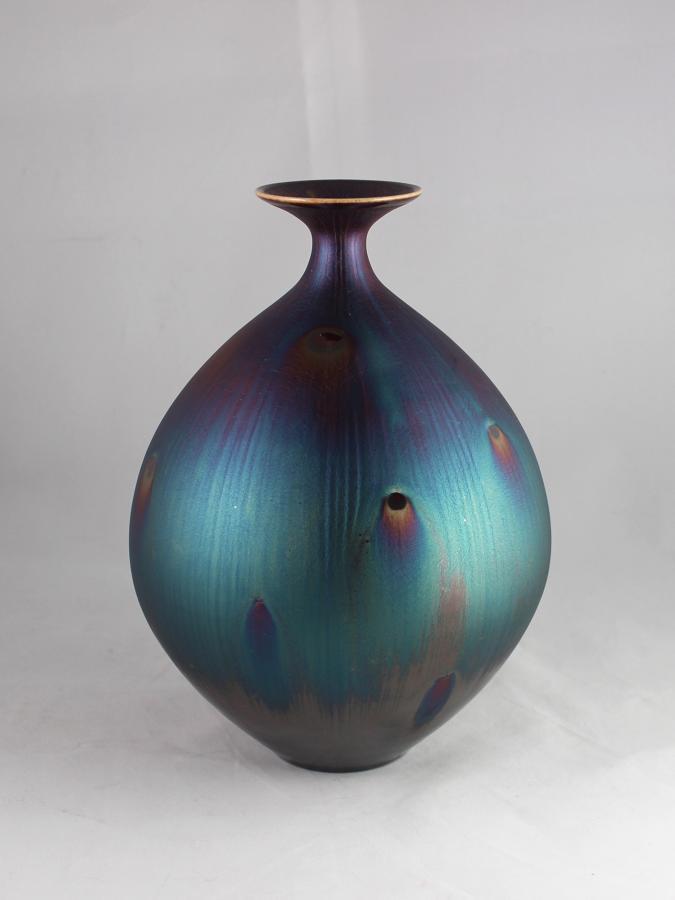 Hideaki Miyamura, Vase with Peacock Glaze