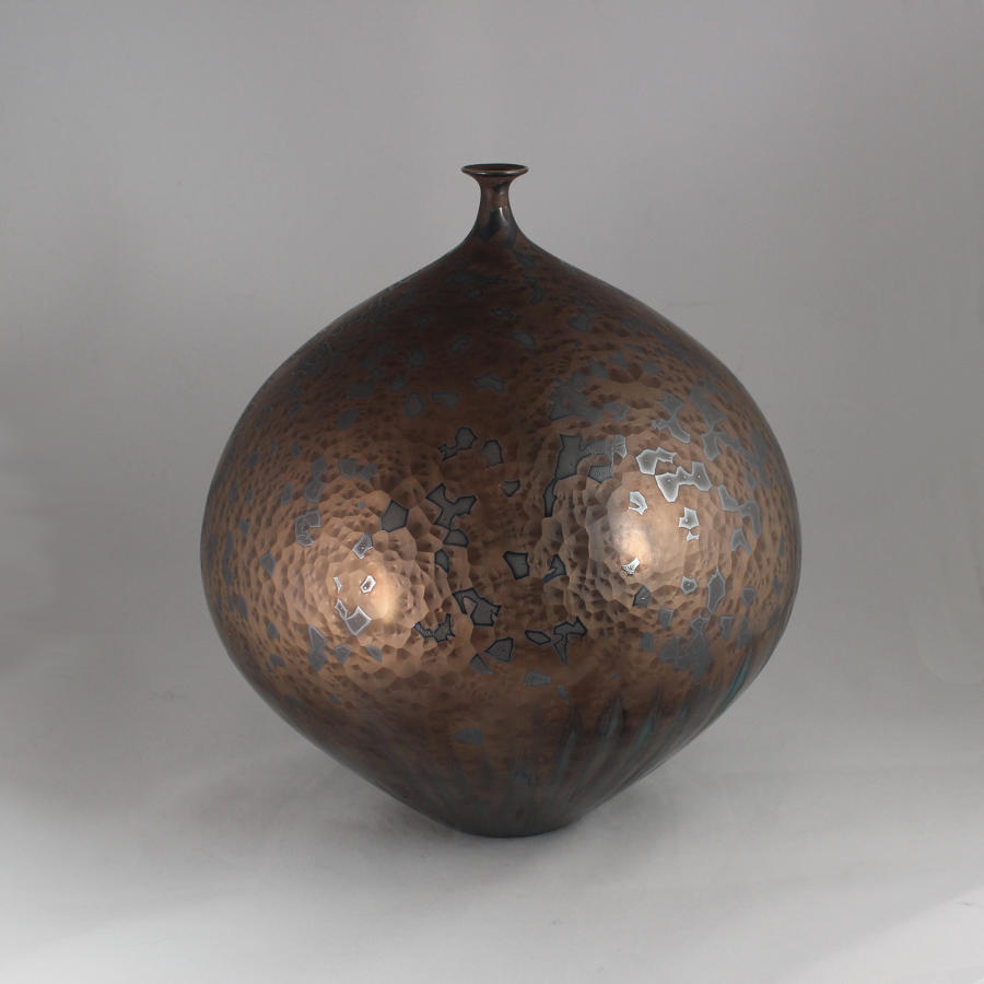 Hideaki Miyamura, Vase with Bronze and Blue Hare's Fur Glaze