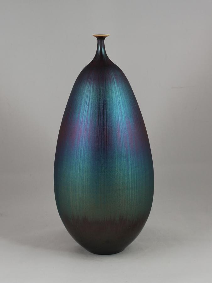 Hideaki Miyamura, Vase with Blue Hare's Fur Glaze