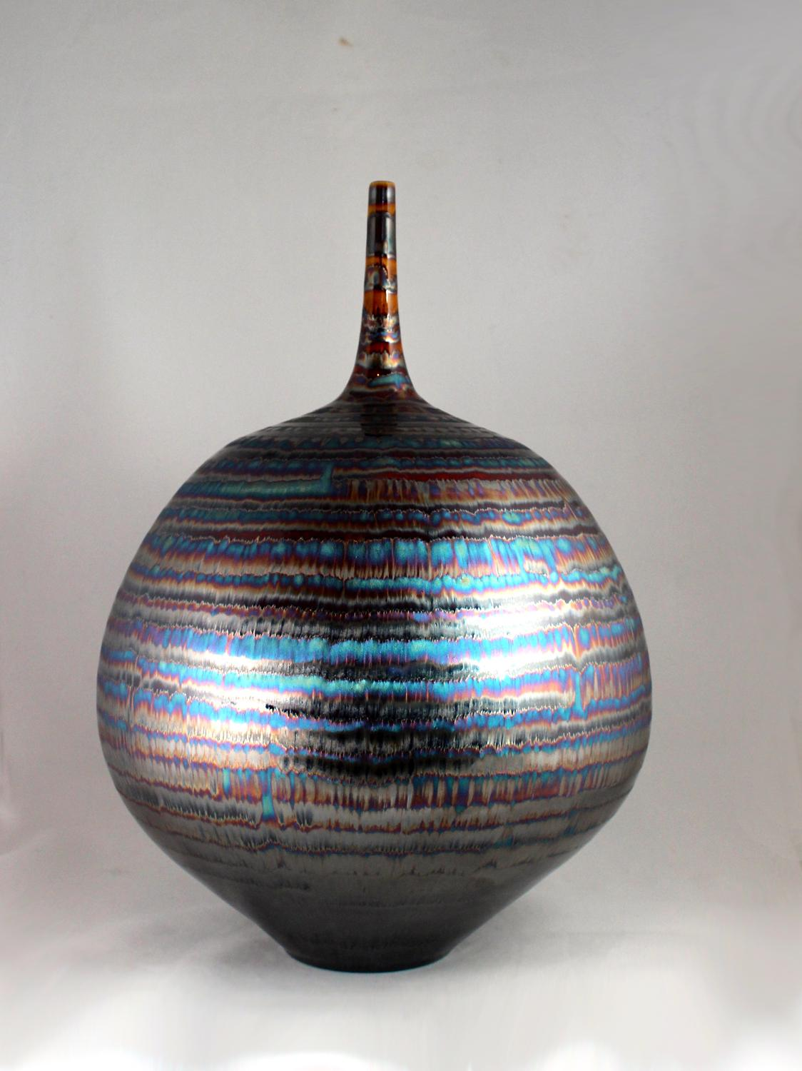 Hideaki Miyamura, Bottle with Blue and Gold Waves