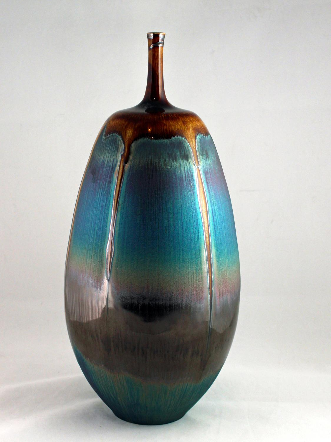 Hideaki Miyamura, Bottle with Brown and Blue Hare's Fur Glaze