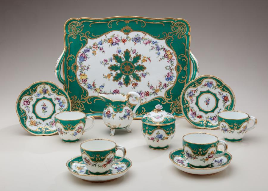 Sèvres green ground tea service