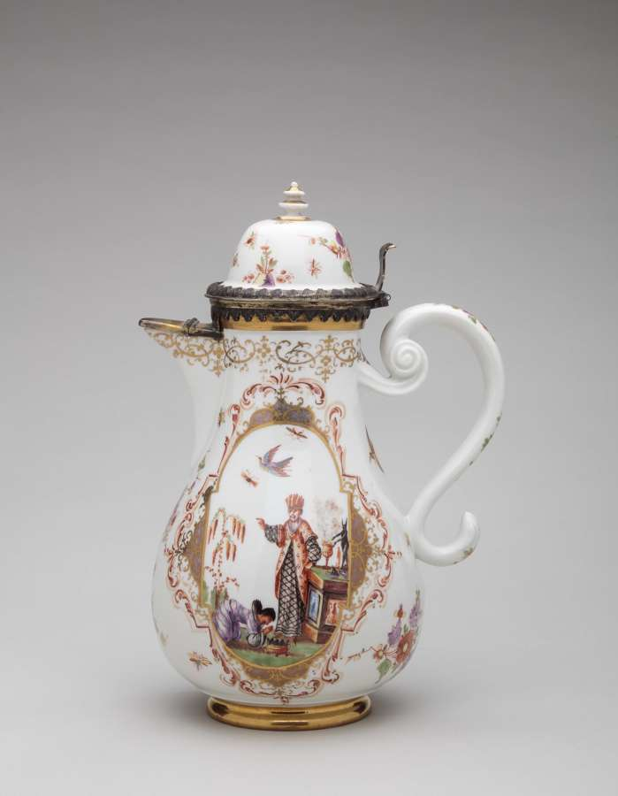 Meissen silver-mounted coffee pot