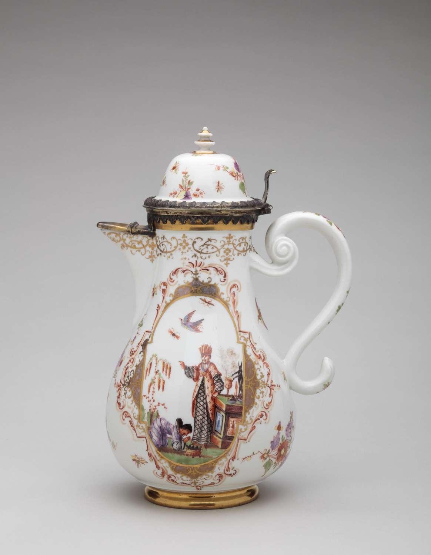 Meissen silver-mounted coffee pot