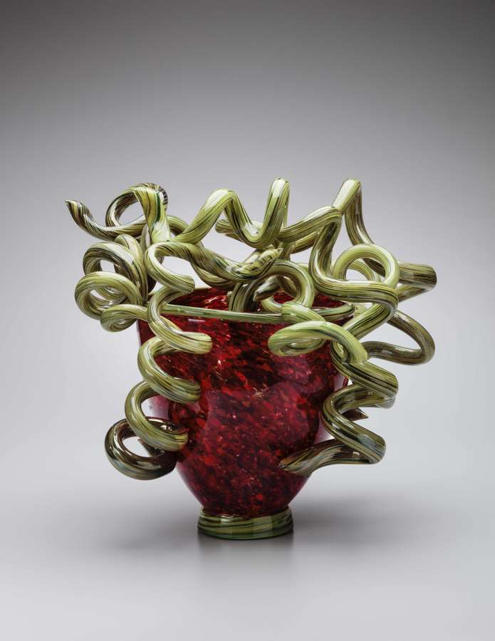 Dale Chihuly with Lino Tagliapietra, Red and Green Venetian Vase