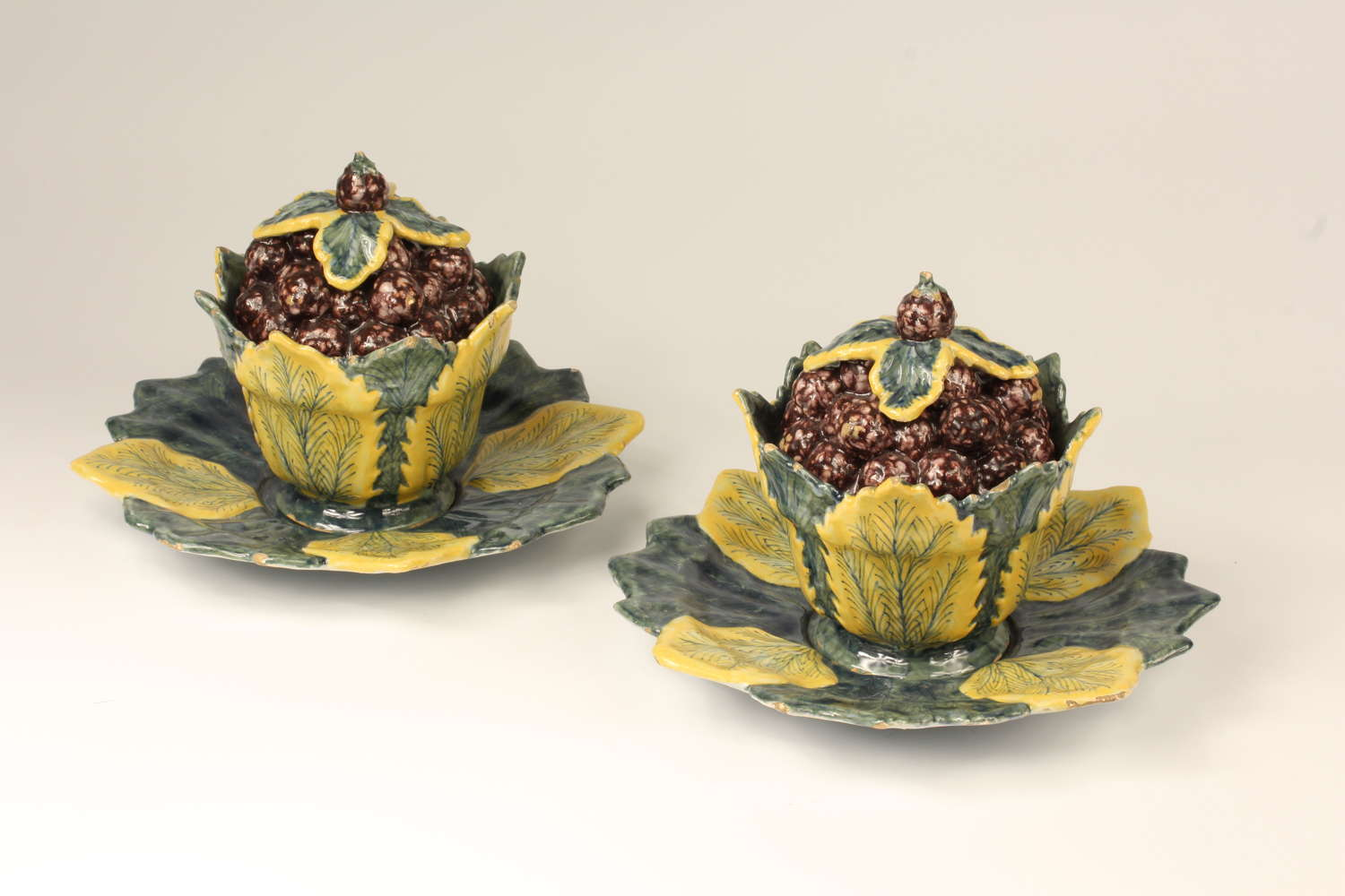 Dutch Delft pair of blackberry tureens